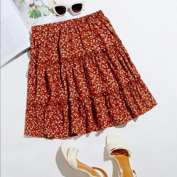 Ruffled Floral Print Mini Skater Skirt